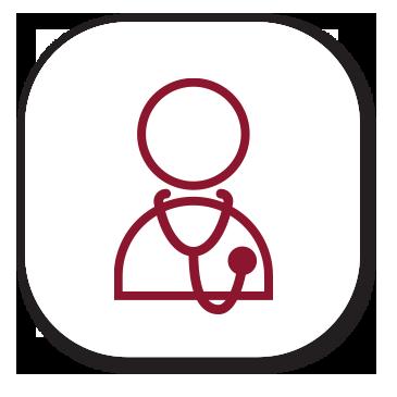 Icoon van een Arts met stethoscoop Logo Reumazorg ZWN